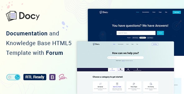 Docy v1.0 - Documentation And Knowledge Base HTML5 Template with Helpdesk Forum Product Image