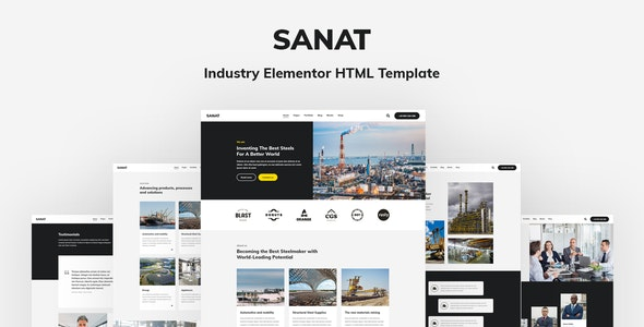 Sanat v1.0 - Industry Elementor HTML Template preview image