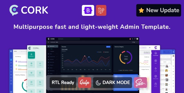 Cork v1.9.0 - Responsive Admin Dashboard Template preview image