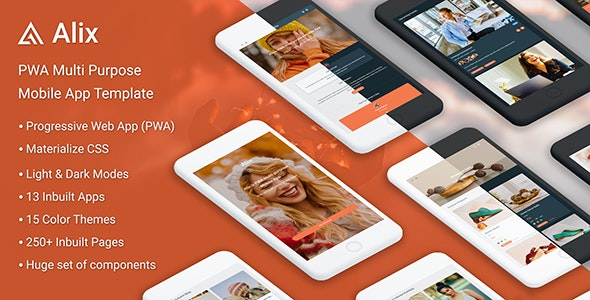 Alix v1.0 - Multi Purpose PWA Mobile App Template preview image