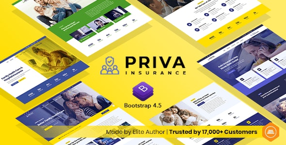 Priva v1.0 - Insurance Company Website Template + RTL Support preview image