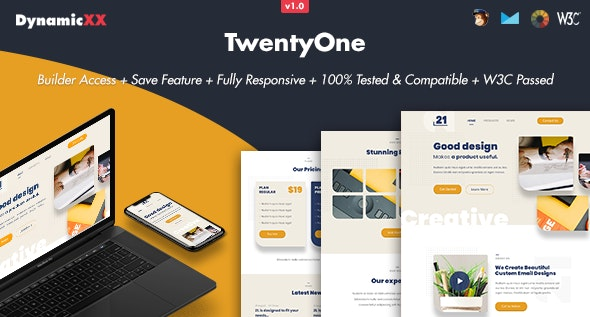 TwentyOne v1.0 - Responsive Email + Online Template Builder preview image