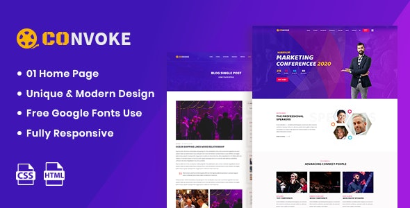 Convoke v1.0 - Event & Conference HTML5 Template preview image