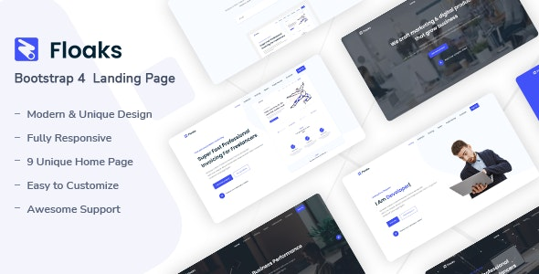 Floaks v1.0 - Responsive Landing Page Template preview image