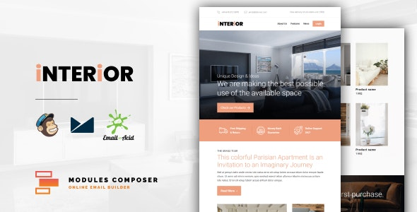 Interior v1.0 - E-Commerce Responsive Furniture and Interior design Email with Online Builder preview image