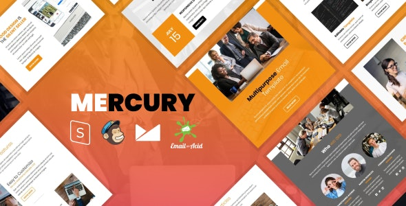 Mercury v1.0 - Responsive Email Template with Mailchimp Editor, StampReady Builder & Online Composer Product Image