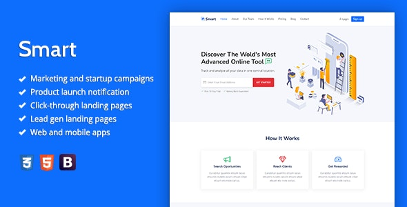 Smart v1.0 - Marketing HTML Landing Page Template preview image