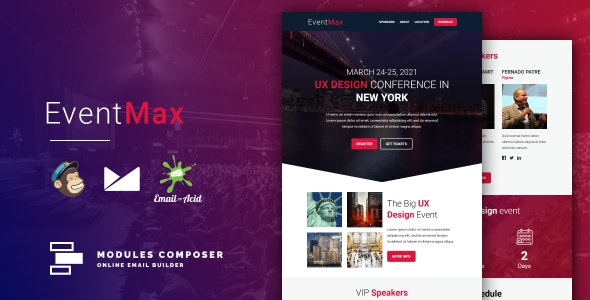 EventMax v1.0 - Responsive Email for Events & Conferences with Online Builder preview image