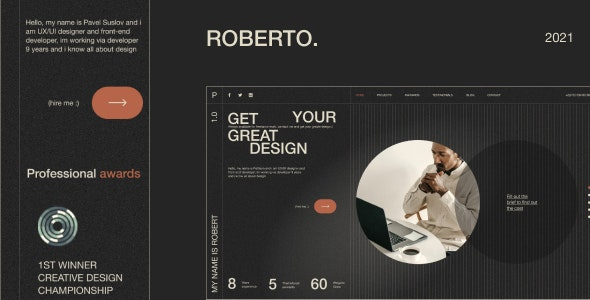 Roberto v1.0 - Onepage Horizontal Personal CV/Resume HTML Template preview image