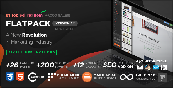 FLATPACK v5.2.2 – Landing Pages Pack With Page Builder preview image