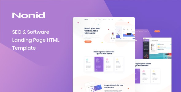Nonid v1.0.0 - SEO & Software Landing Page HTML Template preview image