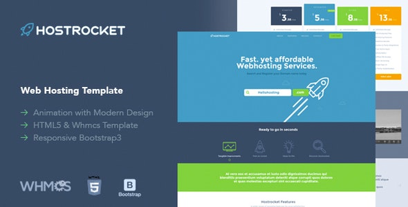 Hostrocket WHMCS & HTML Template (19 Feb 2019 Ready for WHMCS 7.7.1) preview image