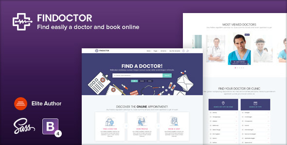 FINDOCTOR v1.6 - Doctors directory and Book Online template preview image