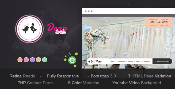 Dear Bride v1.1 - One Page Wedding Salon HTML Template preview image
