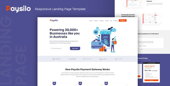 Paysilo v1.0 - Responsive Landing Page Template preview image