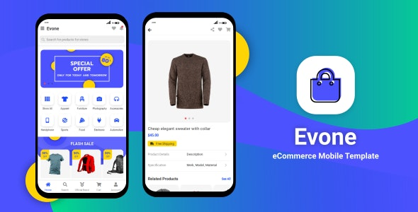 Evone v1.0 - eCommerce Shop & Store Mobile Template preview image