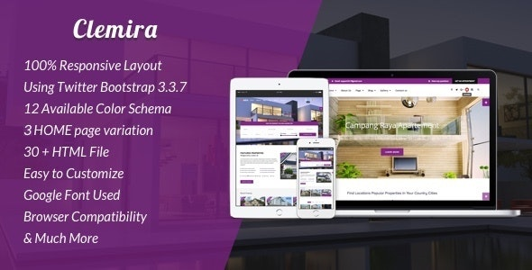 Clemira v1.0 - Responsive Real Estate HTML Template preview image