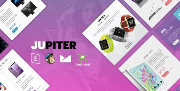Jupiter v1.0 - E-commerce Responsive Email Template with MailChimp Editor, StampReady & Online Builder preview image