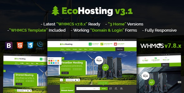 EcoHosting v3.1 - Responsive Hosting and WHMCS WordPress Theme preview image