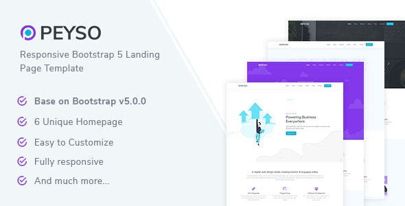 Peyso v1.0 - Bootstrap 5 Landing Page Template preview image