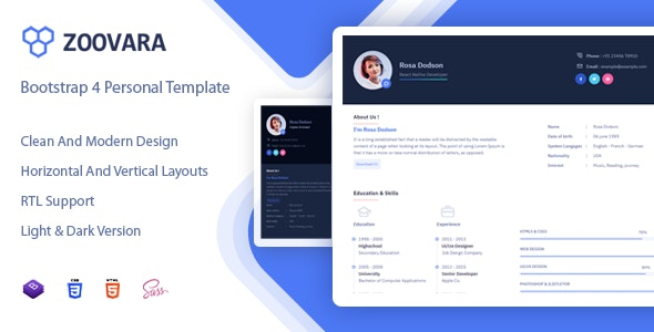 Zoovara 1.0 - Personal Resume / CV Template preview image