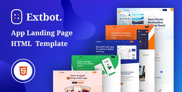 Extbot v1.0 - App Landing Bootstrap 5 Template preview image