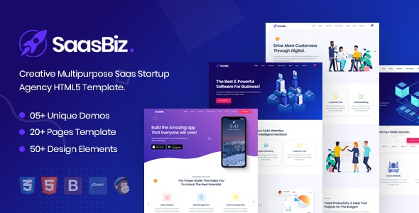 SaasBiz 1.0 - Saas Startup HTML Template preview image