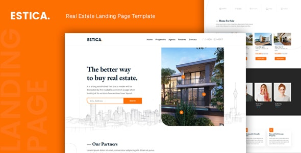 Estica v1.0 - Real Estate Landing Page Template preview image