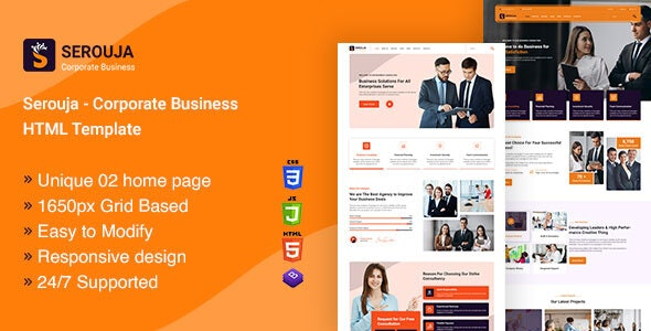 SEROUJA v1.0 - Corporate Business HTML Template Product Image