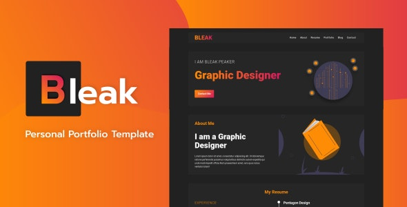Bleak v1.0 - Personal Portfolio Template preview image