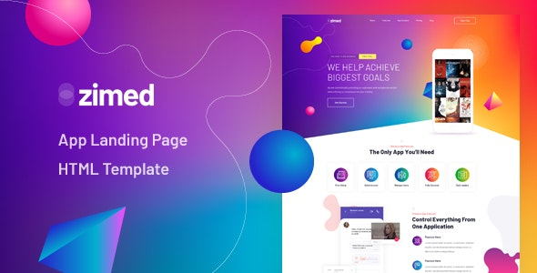 Zimed v1.0 - App Landing Page HTML Template preview image