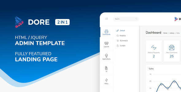 Dore v2.4.0 - Html jQuery Admin Template & Landing Page preview image
