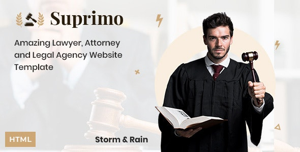 Suprimo v1.0 - Lawyer Attorney Website HTML Template preview image