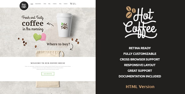 Hot Coffee v1.0.1 - Cafe & Restaurant HTML Template preview image