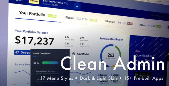 Light Admin v4.3.0 - Clean Bootstrap 4 Dashboard HTML Template with Crypto preview image