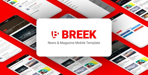 Breek v1.0 - News & Magazine Mobile Template preview image