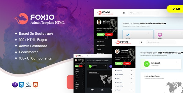 Foxio v1.0 - Responsive Admin Dashboard Template preview image