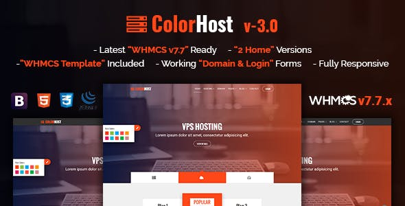 ColorHost v3.0 - Responsive HTML5 Web Hosting and WHMCS Template preview image