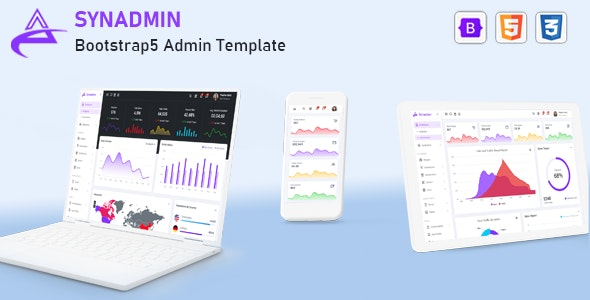 Synadmin v1.0 - Bootstrap 5 Admin Template preview image