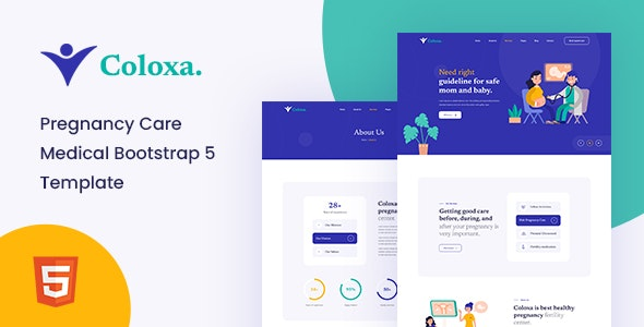 Coloxa v1.0 - Pregnancy Care Medical Bootstrap 5 Template preview image