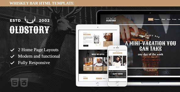 OldStory v1.0.1 - Whisky Bar | Pub | Restaurant Site Template preview image