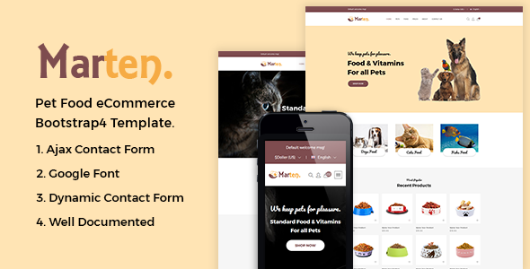 Marten - Pet Food eCommerce Bootstrap4 Template preview image