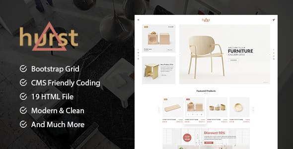 Hurst - Furniture Store eCommerce HTML Template preview image