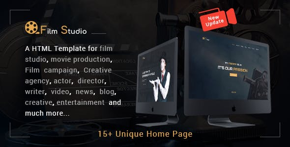 Film Studio v2.0 - Movie Production, Film studio HTML Template preview image