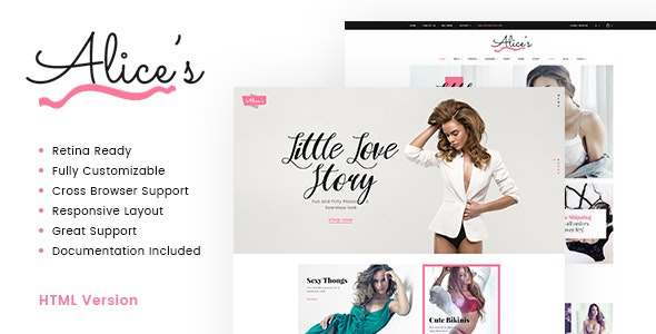 Alice's v1.0.1 - Lingerie Store HTML Template preview image