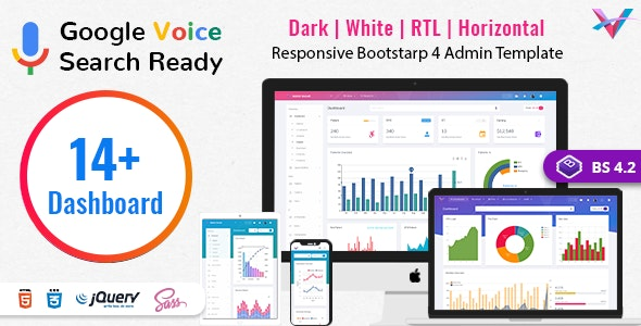 VoiceX v4.2.1 - Bootstrap Admin Dashboard Template preview image