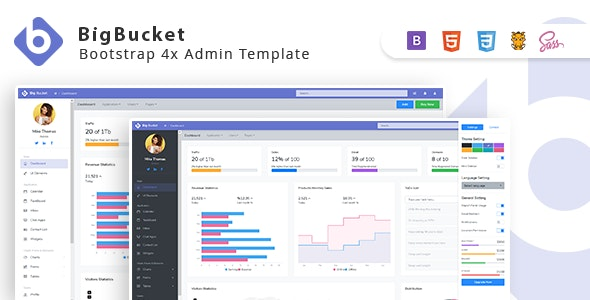 BigBucket v1.0.3 - Bootstrap 4x Admin Template preview image