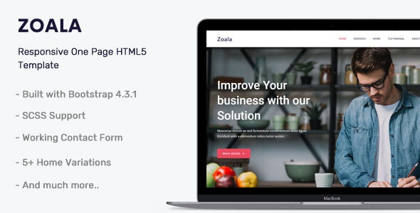 Zoala v1.0 - One Page HTML5 Template preview image