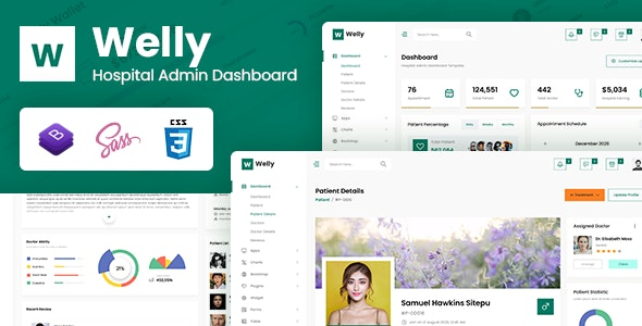 Welly v1.0 - Hospital Admin Dashboard Bootstrap HTML Template preview image