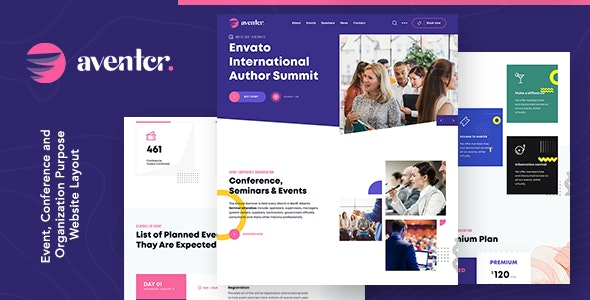 Aventer v1.0 - Conferences & Events HTML Template preview image